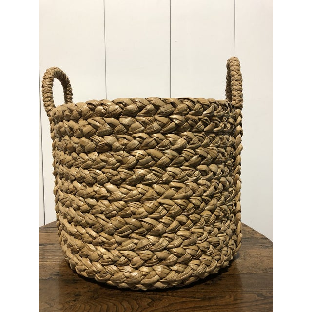 """Seagrass Large Basket with Handles 21""""D x 22.5""""H with handles 18""""Diam x 17"""" H basket interior 7""""W x 5.5""""H Handles"""