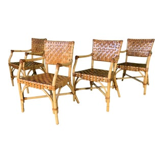 Bamboo and Leather Dining Chairs by McGuire - Set of 4 For Sale