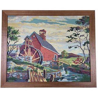 1964 Paint-by-Numbers Farmhouse Scene For Sale