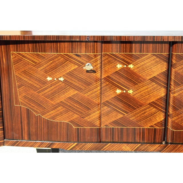 1940s Art Deco Exotic Macassar Ebony Mother-Of-Pearl Sideboard For Sale - Image 4 of 13