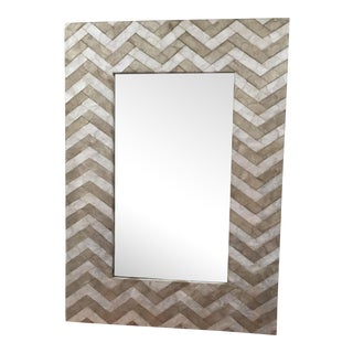 Herringbone Capiz Shell Wall Mirror