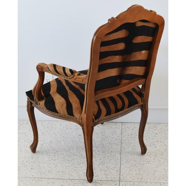 Animal Skin 1950s Carved Hardwood & Tiger Cowhide Upholstered Armchair For Sale - Image 7 of 13