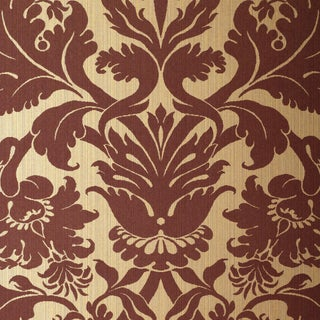 Sample - Schumacher Fiorella Damask Wallpaper in Red on Gold For Sale