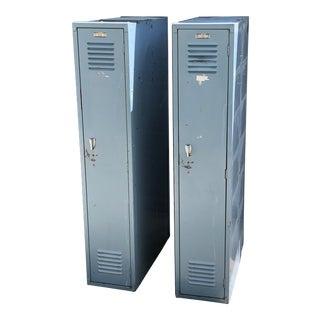 20th Century Industrial Pale Blue Lyon School Lockers For Sale