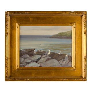 """Late 20th Century """"Seagulls on the Rocks"""" Coastal Oil Painting by Alison Hill, Framed For Sale"""