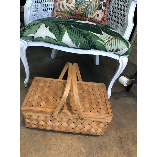 Vintage Wood Picnic Basket For Sale - Image 4 of 7