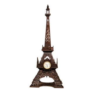 19th Century French Wood Carved Eiffel Tower With Clock For Sale