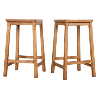 Vintage English Fruitwood Schoolhouse Stools- A Pair For Sale
