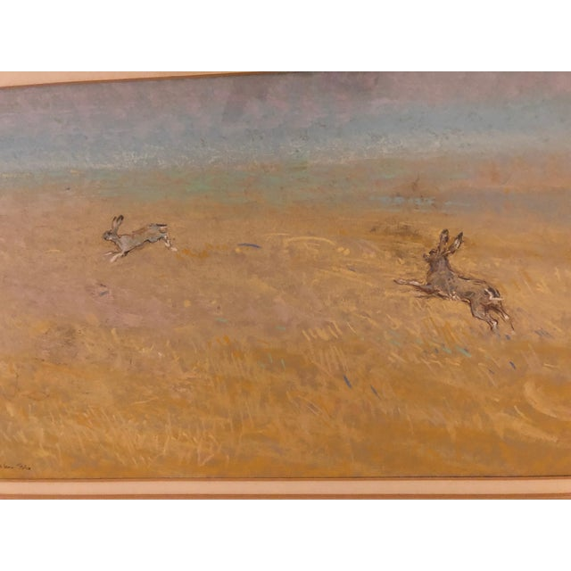 A sweet pastel by 20th century English artist, Shaw Egerton, c 1986. Newly framed in a giltwood and celadon green molding...
