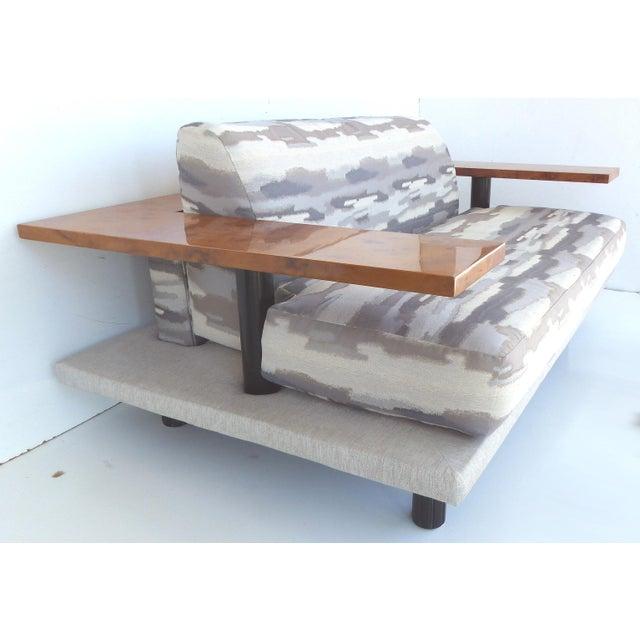Italian Italian Burl-Wood Upholstered Loveseat For Sale - Image 3 of 11