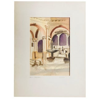 Original Mid Century Modern Signed Watercolor by Claus Otto Huckenbeck For Sale