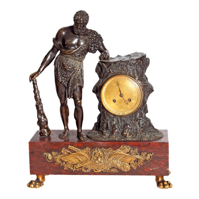 "French Empire ""Farnese Hercules"" Mantel Clock attributed to Claude Galle - Image 1 of 11"