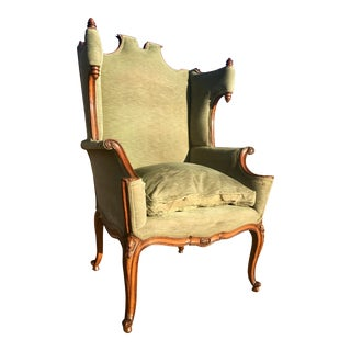 Antique French Louis XV Carved Walnut Wing Chair For Sale