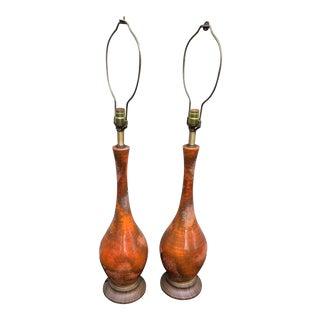1960s Large Mid Century Volcanic Bubble Drip Glaze Lamps - a Pair For Sale