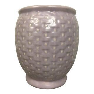 1930s Lavender Weller Pierre Basket Weave Pot For Sale