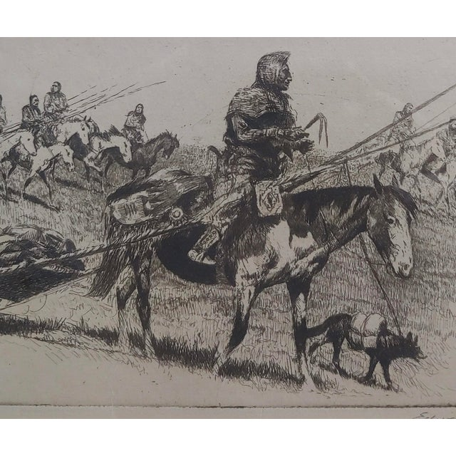 1920s Edward Borein -Blackfoot Indian Moving Camp-1920s Original Etching For Sale - Image 5 of 10