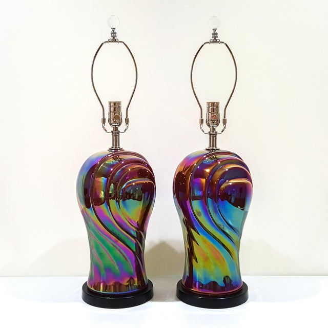 Vintage American Art Deco Revival Streamline Modern Iridescent Carnival Glass Lamps - a Pair For Sale - Image 13 of 13
