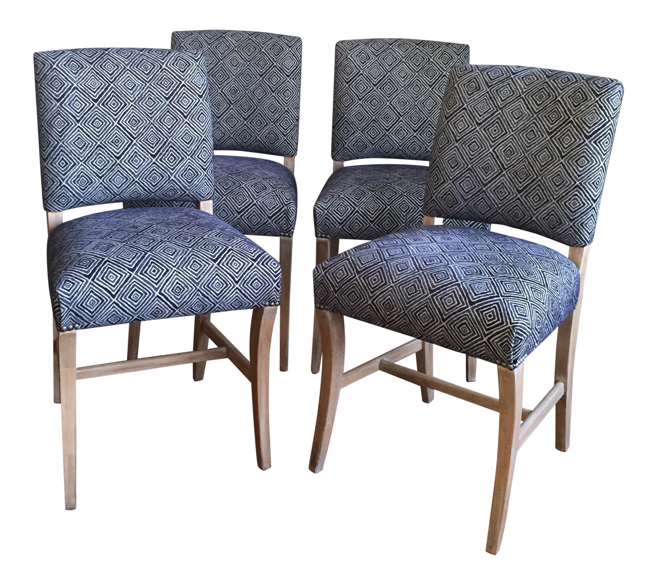 Light Wood Upholstered Blue Geometric Dining Chairs   Set Of Four