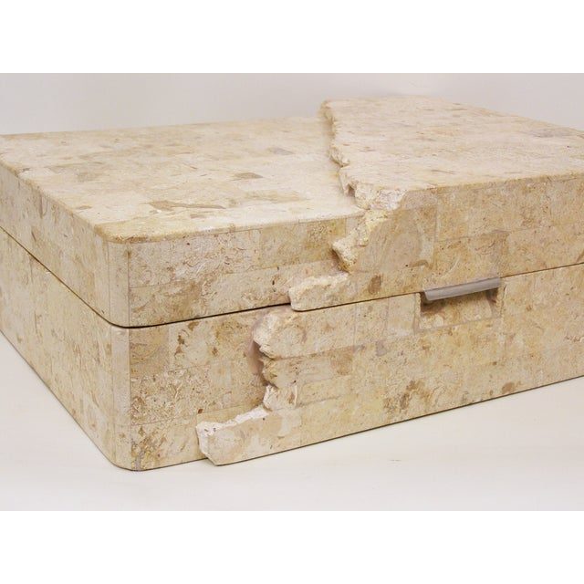 Neoclassical Maitland-Smith Vintage Travertine Marble Box For Sale - Image 3 of 11