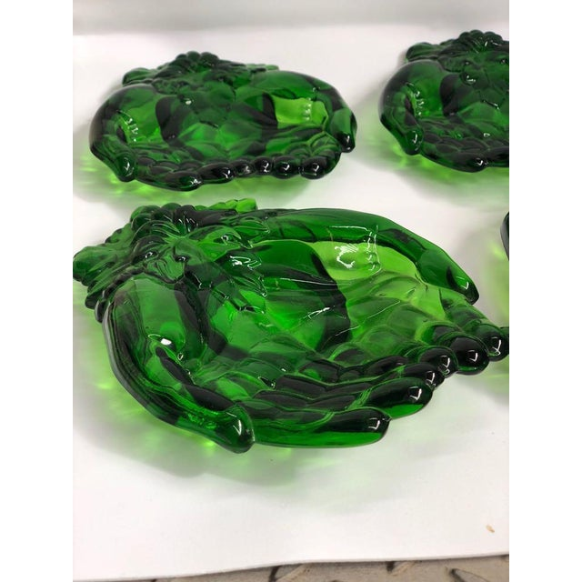 Glass Vintage Green Molded Glass Dishes, 1960s, Set of Five For Sale - Image 7 of 11