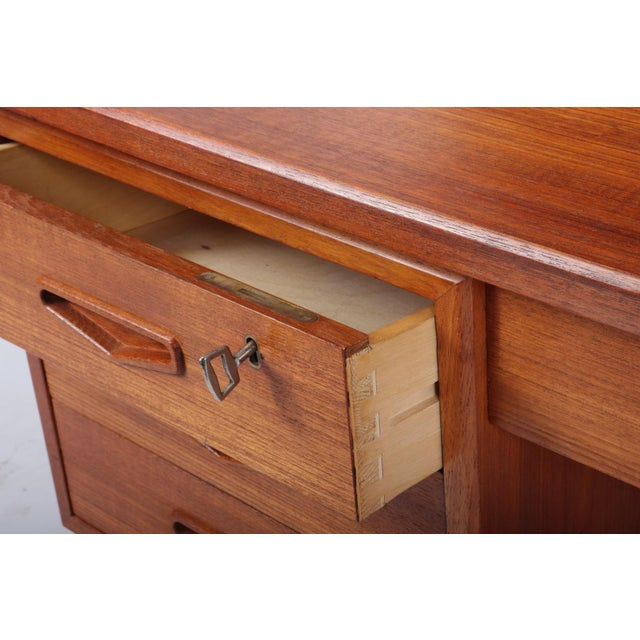 Danish Mid Century Modern Teak Desk For Sale - Image 4 of 13
