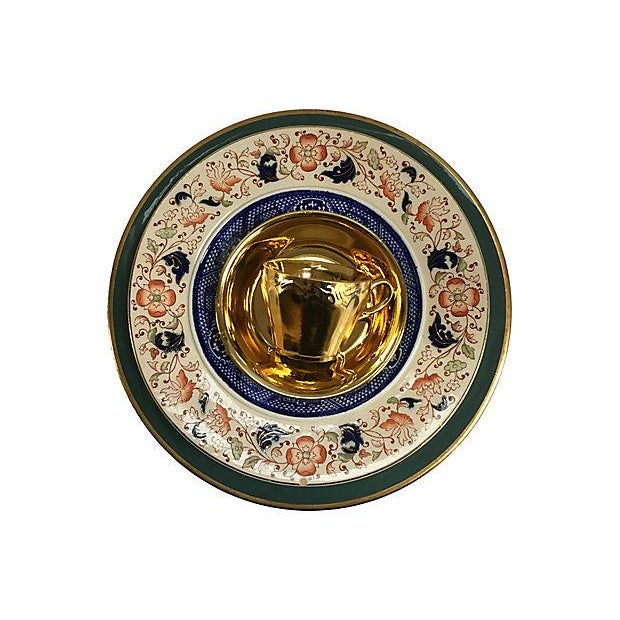 Vintage Mixed Gold & Green Place Setting - Set of 5 - Image 9 of 9