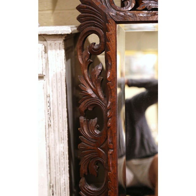 Late 19th Century 19th Century French Louis XIII Carved Oak Overlay Beveled Glass Wall Mirror For Sale - Image 5 of 9