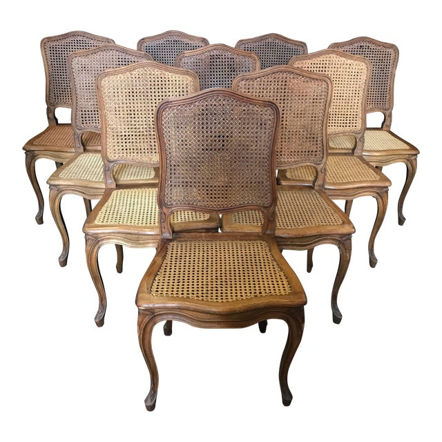 1920s Vintage French Provincial Louis XV Style Walnut and Caned Dining Chairs- Set of 10 For Sale