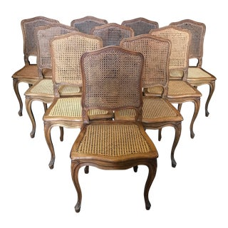 1920s Vintage French Provincial Louis XV Style Walnut and Caned Dining Chairs- Set of 4 For Sale