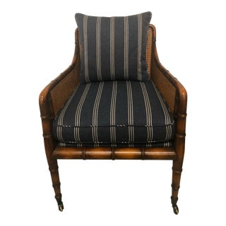 English Caned Faux Bamboo Club Chair