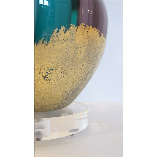 Venetian Swirl Turquoise Lilac Gold Glass Lamp - Image 4 of 7