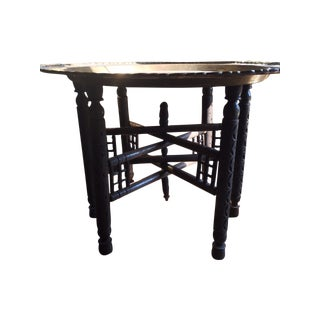 Moroccan Style Brass Tray and Wood Stand Table For Sale