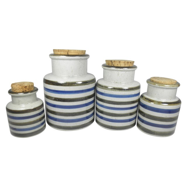 Vintage Japanese Striped Canisters - Set of 4 - Image 1 of 4