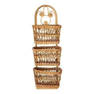 Vintage Wicker Bird Letter Holder For Sale
