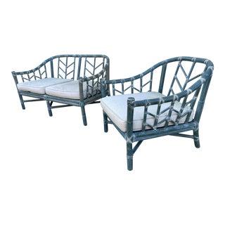 McGuire Rattan Sofa Set For Sale