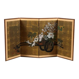 Antique Japanese Handpainted Room Screen Floral Cart For Sale