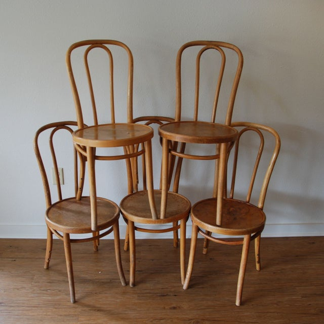 Genuine Thonet cafe chairs from 1950-60's. Sold as a set of five. They are in good condition, with appropriate wear for...
