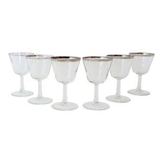 Rare Dorothy Thorpe Wine Glasses W/ Silver Rim For Sale