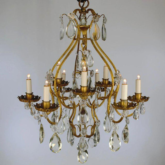 Hollywood Regency Continental Iron & Crystal Chandelier For Sale - Image 3 of 11