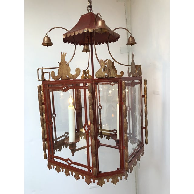 Design Plus Gallery presents a Vintage Chinoiserie Lantern Pendant. Large scale but full of whimsy, the metal pendant...