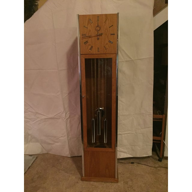 Vintage Mid Century Modern Oak and Chrome Pendulum Grandfather Clock For Sale - Image 11 of 11
