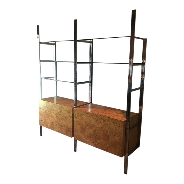 Milo Baughman Burlwood Chrome Wall Unit For Sale