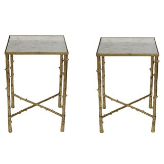 "Set of 2 Glostrup Square Metal Side Table,Stylish End Table With Mirrored Top for Living Room, Bed Room, 23"" H, Gold Leafing Finish For Sale"