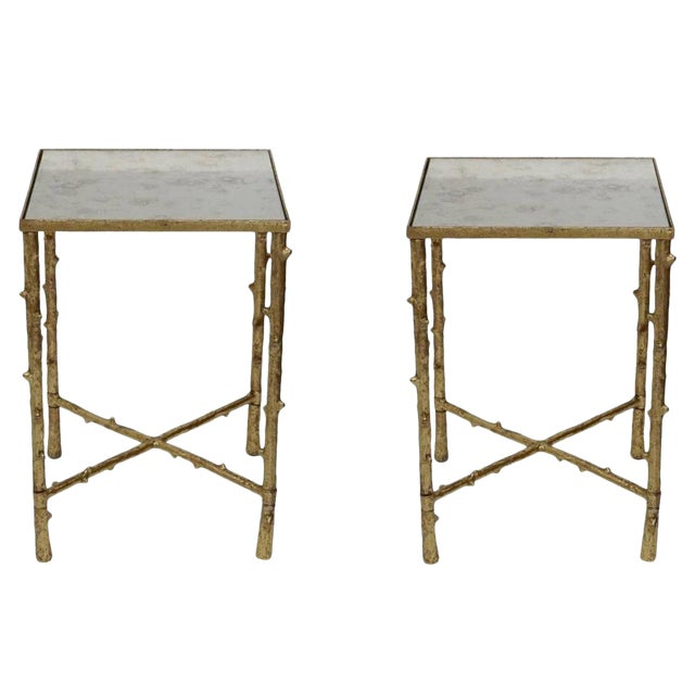Set of 2 Glostrup Square Metal Side Table,Stylish End Table With Mirrored  Top for Living Room, Bed Room, 23\