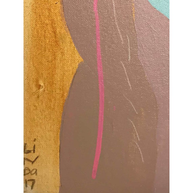 """Contemporary Abstract Portrait Painting """"Let's Go Together, No. 3"""" - Framed For Sale - Image 4 of 9"""