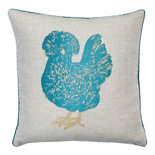 Country Chicken Natural Linen and Cerulean Blue Velvet Pillow For Sale