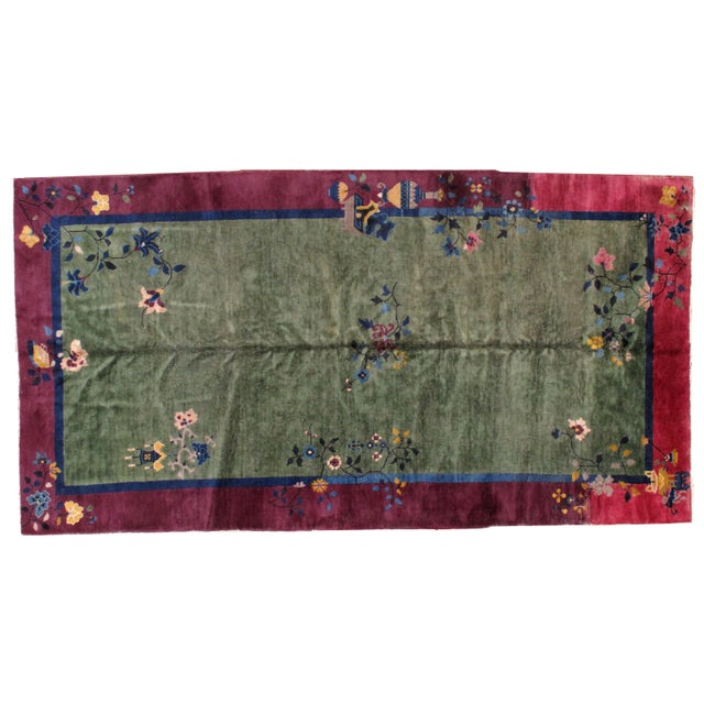Pink 1920s Antique Art Deco Chinese Rug - 6′2″ × 11′8″ For Sale - Image 8 of 8