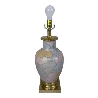 Frederick Cooper Brass & Hand Painted Porcelain Table Lamp For Sale