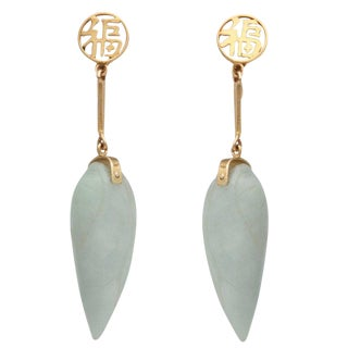 Mod Look Carved Light Green Jade Teardrop Chinese Earrings For Sale