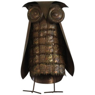 1960s Copper Owl Sculpture For Sale